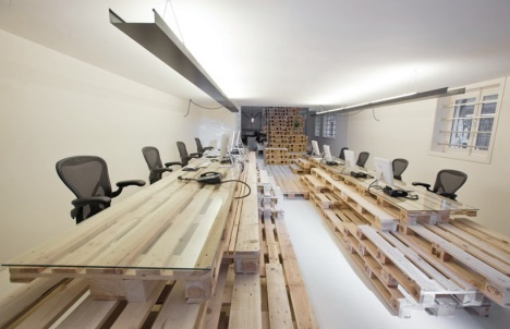 Temporary Office Interior Built from Shipping Pallets