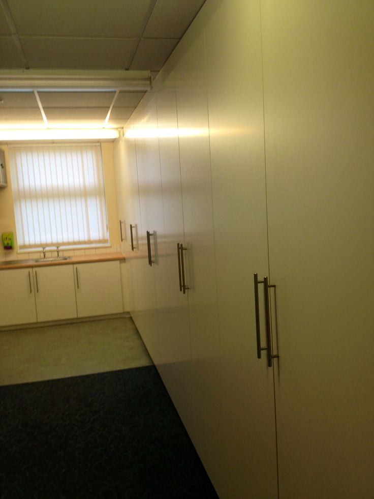 All the doors were made out of 18mm white faced MDF with abs edging for durability and soft close hinges as standard