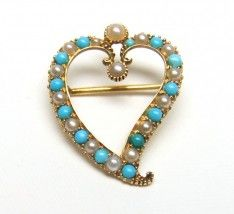 pearl and turquoise witches heart brooch