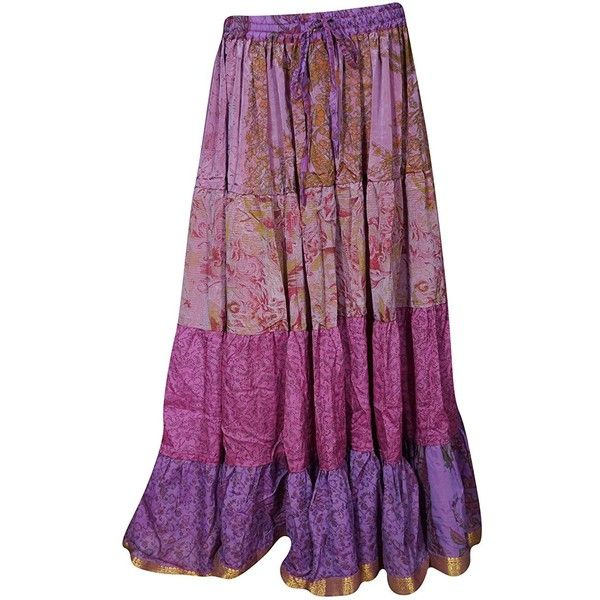 Mogul Womens Skirts Belly Dance Recycled Vintage Sari Gypsy... ($25) ❤ liked on Polyvore featuring skirts, purple maxi skirt, purple gypsy skirt, purple belly dance skirt, ankle length skirts and long vintage skirts