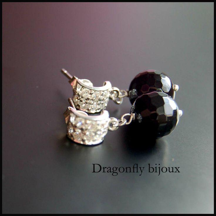 vintage handmade earrings silver onyx earrings