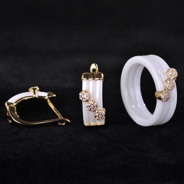 Blucome New Ceramic Jewelry Sets White Earring& Ring Bijoux Golden Flower Princess Hook Copper Brinco Rhinestone Anel Bijouterie