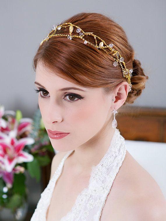 Gold Bohemian Crown, Crystal Headband, Gold Hair Vine, Outdoor Wedding Hair Accessories, Bridal Halo, Tiara, Crystal Chain Wrap, STYLE 173