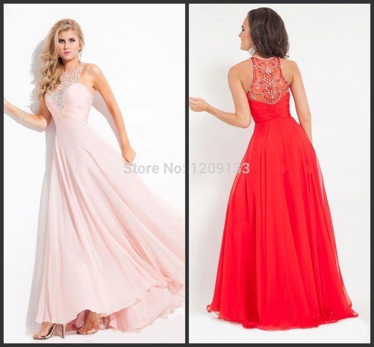 Длинная вечернее платье официальный платья роскошь вышивка бисером глубокое круглое декольте без рукавов розовый красный женщины платье vestidos noche