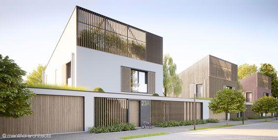 dom pasywny z wariacjami materiałowymi na elewacji