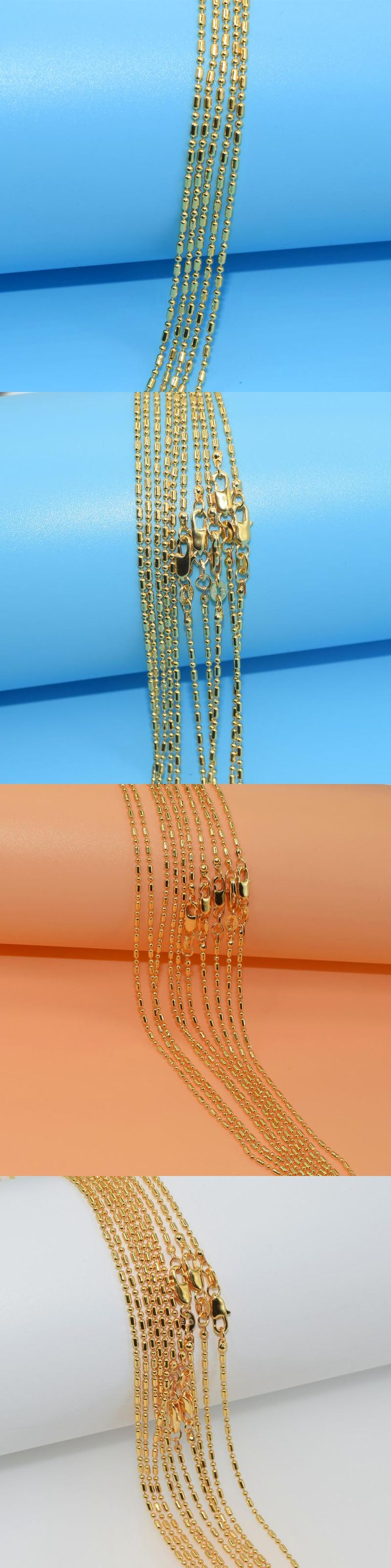 16-30 Yellow Gold Filled Flat Link Water Wave Chain Necklace Long Necklaces Womens Mens Jewelry 2MM 10pcs Xl047