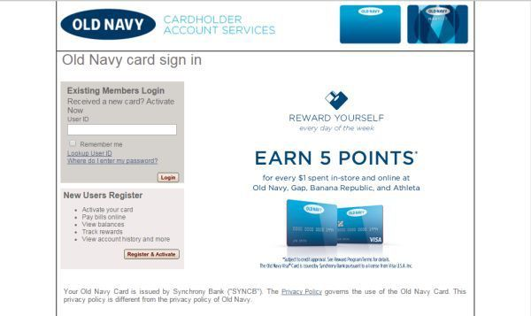 Old Navy Credit Card Login to access account