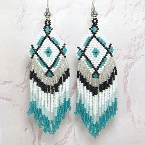 Black Sea Green White Seed Beaded Diamond Earrings Wholesale Bead Jewelry