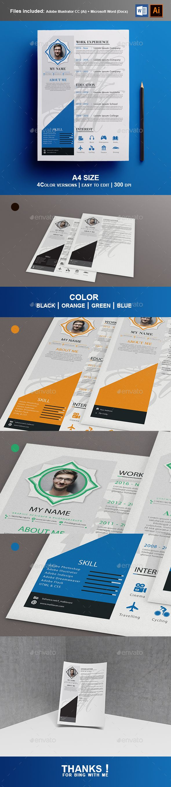 #Resume + Cover letter - #Stationery Print Templates
