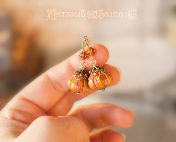 Magic Pumpkin Earrings,Thanksgiving Halloween Earrings, Polymer Clay Jewelry, Whimsical Jewelry, Jack O'Lantern, Thanksgiving jewelry by ArtsomeBoutique on Etsy