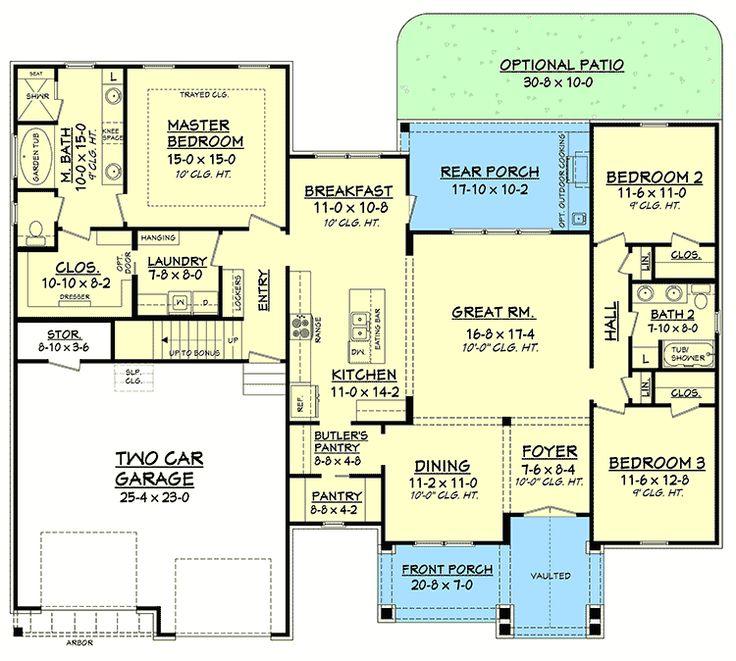 Plan 51755HZ: 3 Bed Contemporary Craftsman with Bonus Over Garage