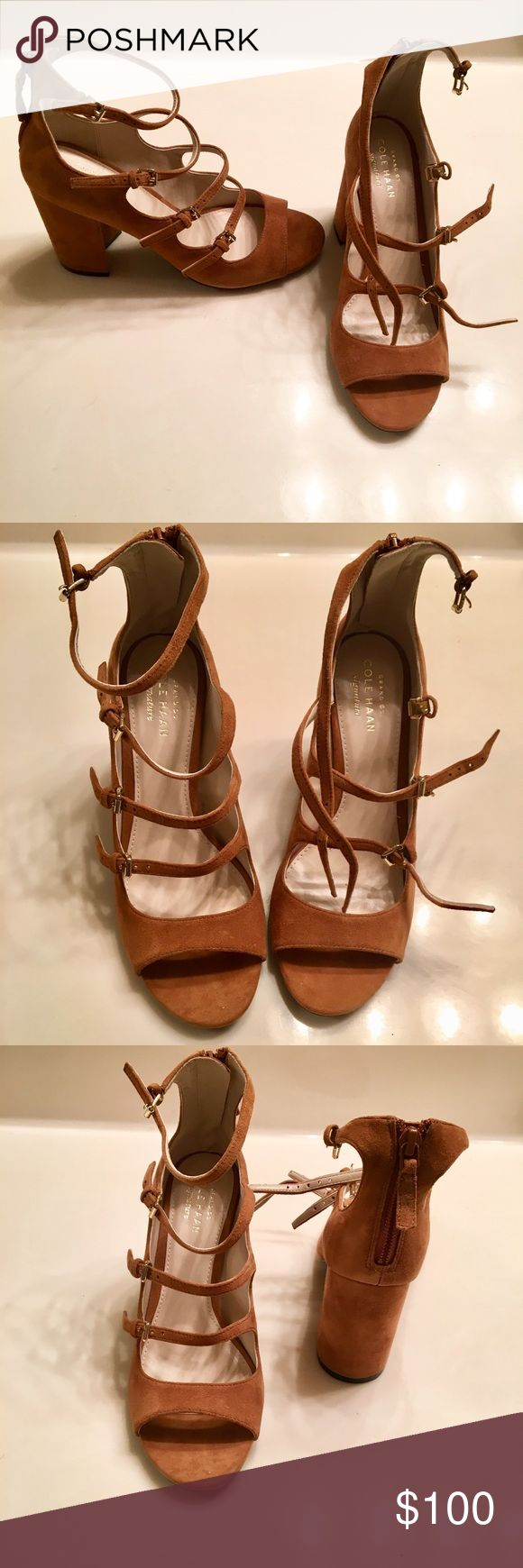 Cole Haan Suede shoes BRAND NEW with box. suede camel color size 5 strappy heels Cole Haan Shoes Heels
