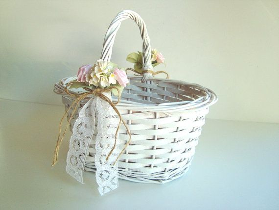 """We did this as the flower girl basket. Our basket was Turquoise as we used that as a """"splash"""" of color in our wedding."""