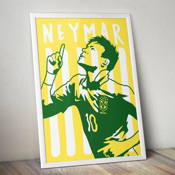 Neymar Brazil World Cup Print by KieranCarrollDesign on Etsy