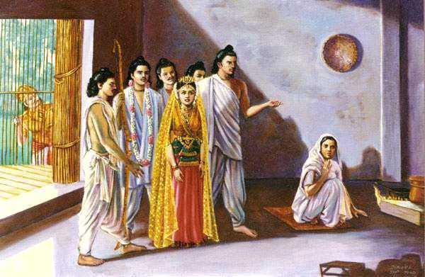 The Pandavas bringing back Draupadi to their mother exiled Queen Kunti