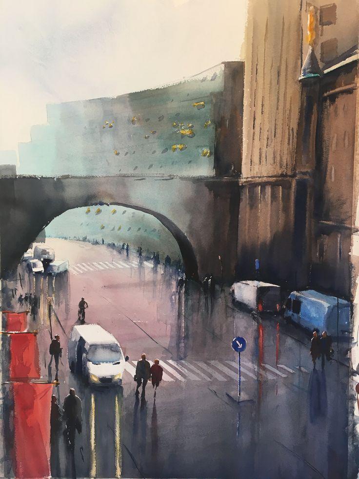 Malmskillnadsbron, Stockholm, Stefan Gadnell Watercolor