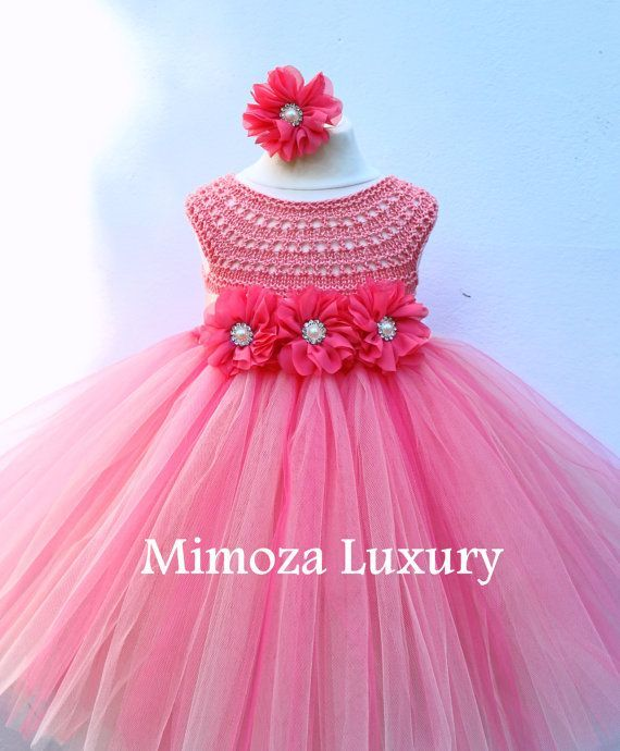 Super cute tutu dress in coral/peach color + matching satin head piece with flower  The top is hand knitted with high quality silk / cotton yarn,  that gives so pleasant sensation on the skin, perfect for all seasons! The tutu skirt is made of rows soft tulle in coral and peach colors. Also Satin sash with flowers and matching head piece  Check the menu above for available sizes for this dress!  The dress is coming in Tea length (below the knee, above the ankle) !!! If you want shor... […