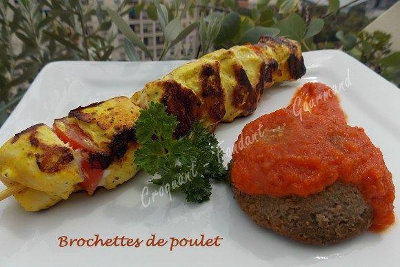 Brochettes de poulet et papeton d'aubergine