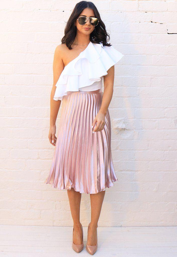 Metallic Satin Pleated High Waisted Midi Skirt in Rose Gold