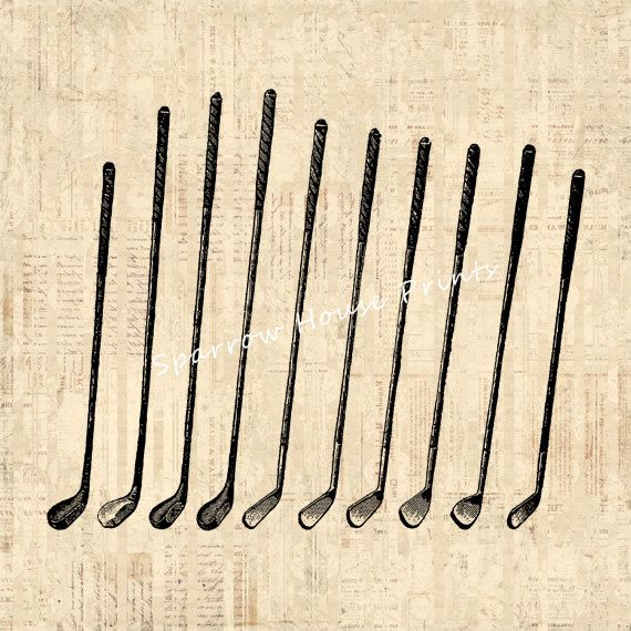 Vintage Golf Clubs Antique Artwork Golfing Wall Art Golf Print with Vintage Script Paper Background No.4258 B4 8x8 8x10 11x14 on Etsy, £7.41