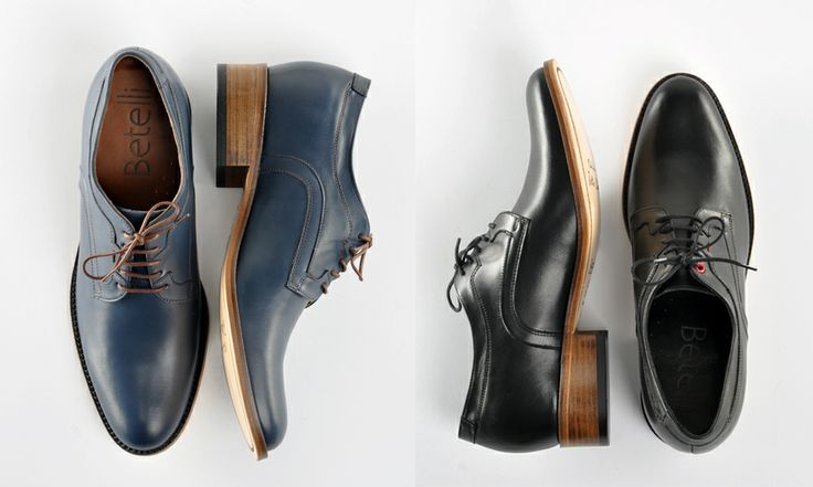 Stylish #men's height increasing #shoes by Betelli. Made from black and navy genuine #leather.