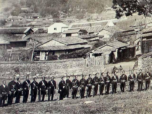 Samurai troops, Boshin war ers, late Edo period.