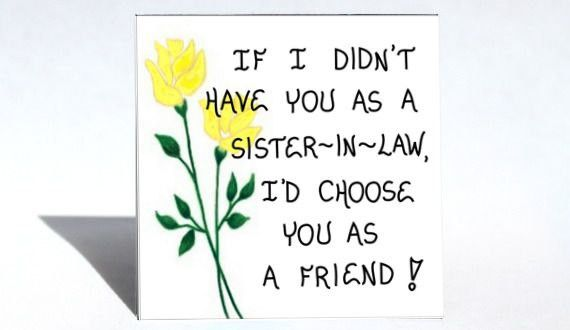 Sister-in-Law Magnet, husbands sibling, relative, brothers wife, friendship, friends, Yellow tulips