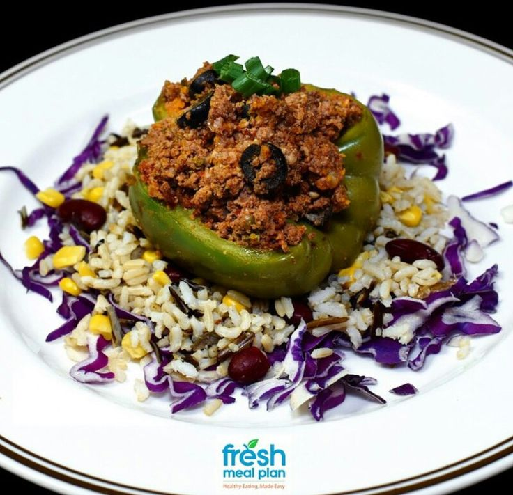 Ostrich mince stuffed green pepper with wild basmatic rice