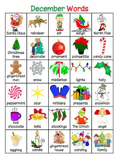 List of words for writing center...Christmas words before the holidays, etc.  Love this idea!