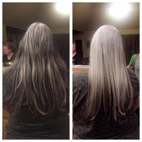 "I don't even have words!!!! Just look at that difference. Shampoo you guys. :-) This stuff is amazing with removing film and buildup on your hair to bring forth it's color and shine.  Joanne, wrote ""One wash with IRT shampoo and conditioner. What the ?!?!?!"""