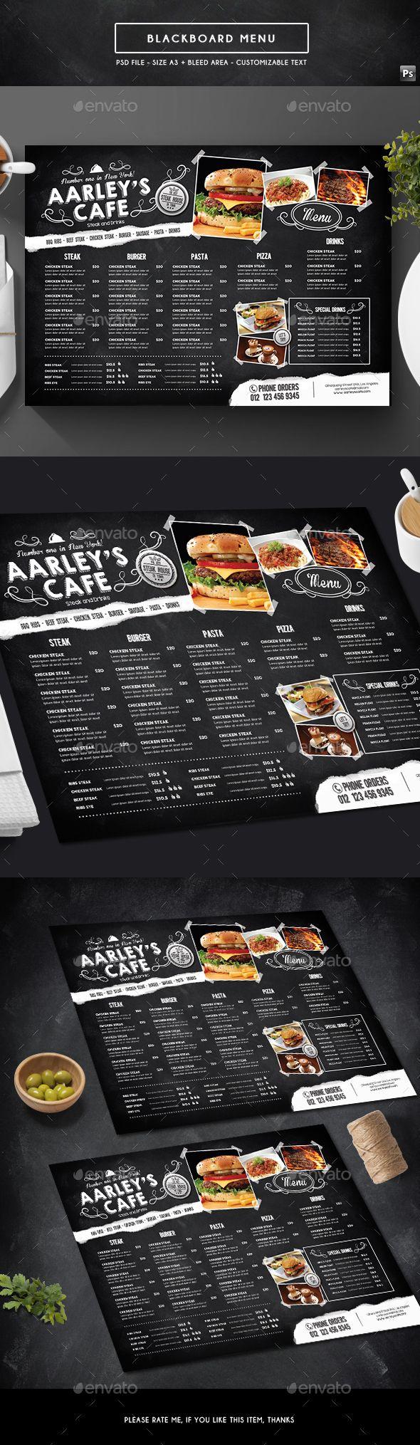 Blackboard Menu - Food Menus Print Templates Download here : https://graphicriver.net/item/blackboard-menu/19305671?s_rank=64&ref=Al-fatih