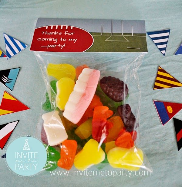 Football Lolly Bag Toppers  Invite Me To Party: Footy - Aussie Rules Themed Birthday Invitation and Party Printables
