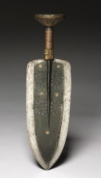 Africa | Knife,  Democratic Republic of Congo | ca. 1800s | Forged iron, brass grip and pommel