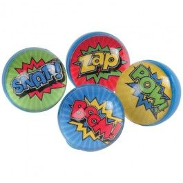 "Superhero+Bounce+Balls+/+32mm+-+They+may+not+be+able+to+leap+tall+buildings+in+a+single+bound,+but+these+superhero-themed+bounce+balls+do+fly+high!+Inspired+by+the+pop+art+pulled+straight+from+the+comics,+each+ball+has+a+fun+superhero+action+word+such+as+""POW!""+or+""BOOM!"".+++Children+will+enjoy+tossing+these+toys+around+the+backyard+or+""out-bouncing""+their+friends.++A+great+party+favor+for+any+superhero-themed+event.+-+$2.49"