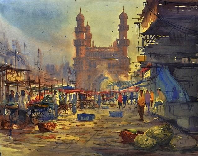 Charminar Hydearbad ,India - Painting,  22x28 in ©2013 by Kishore singh -            Charminar painting.