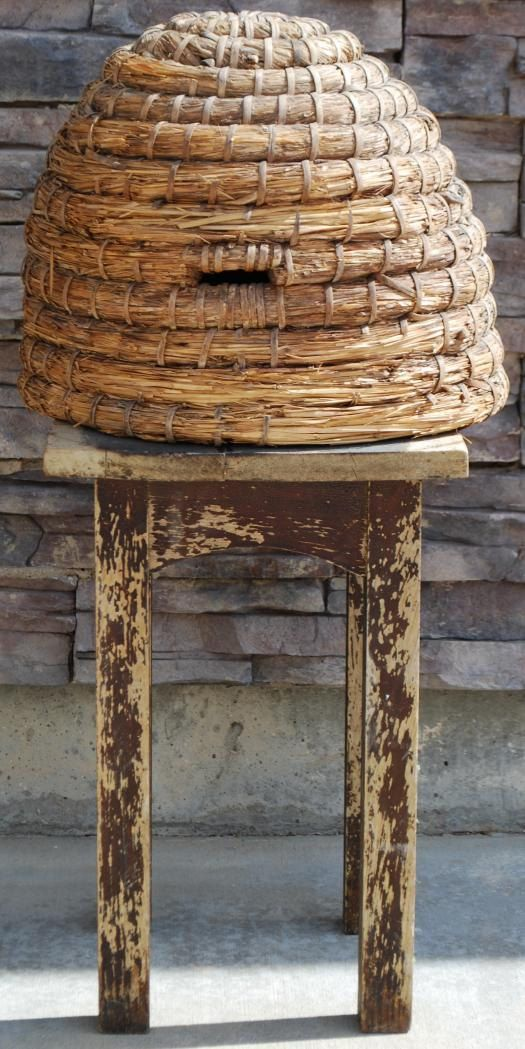 Antique Very Early Bee Skep Basket Hive Primitive by redroosterbab,
