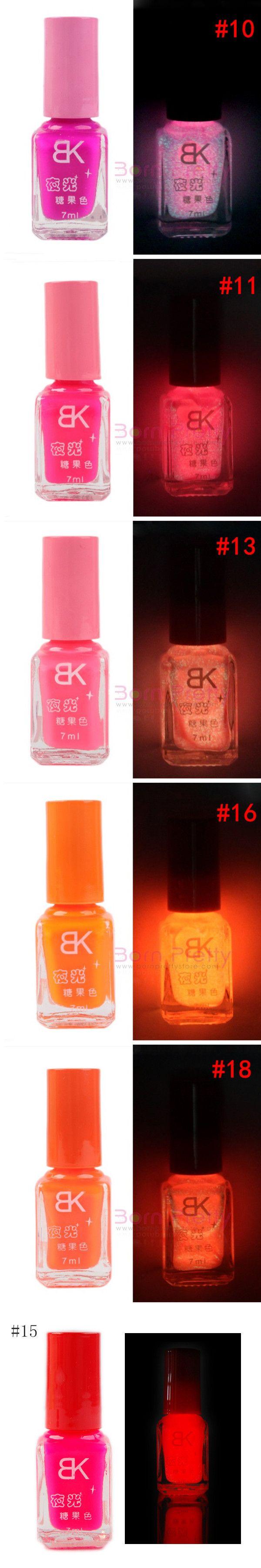 $2.99 Candy Colors Fluorescent Neon Luminous Nail Art Polish Glow In Dark Varnish 7ML - BornPrettyStore.com