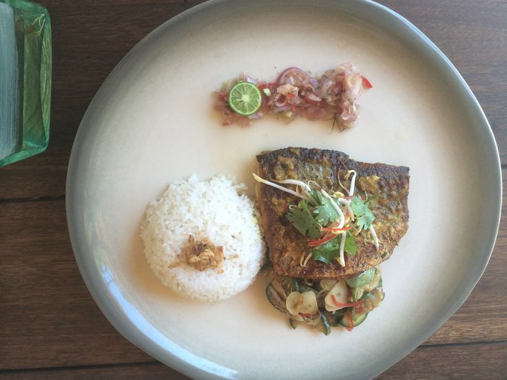 Grilled Barramundi with Sauteed Vegetables, White Rice and Balinese Sauce