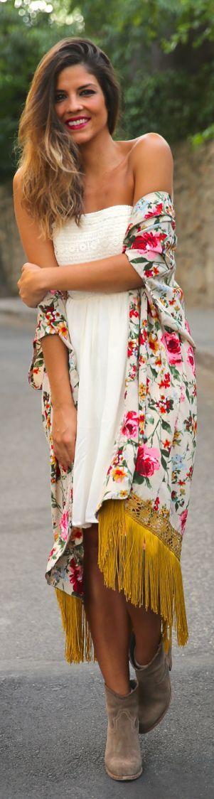 Multicolor Boho Floral Fringe Kimono