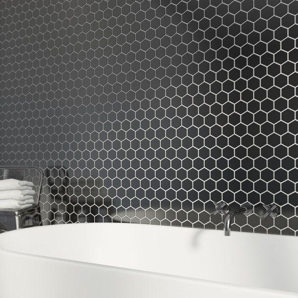 British Ceramic Tile Mosaic Hex Black Gloss Tile 300mm X 300mm 1 Sheet Grey Mosaic Tiles Mosaic Tiles Hexagon Mosaic Tile