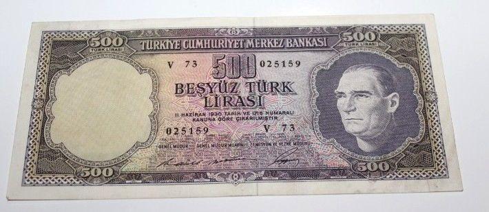 TURKEY 5. EMISSION 4 ISSUE 500 LIRA