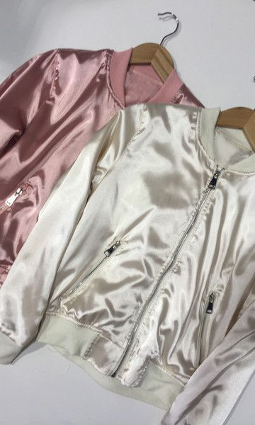 YOU DONT WANT TO MISS THIS TREND! SATIN JACKET WITH SILVER HARDWARE.
