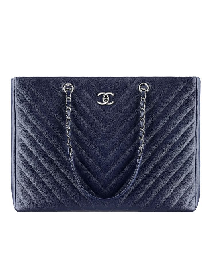 Large tote, grained calfskin-navy blue - CHANEL