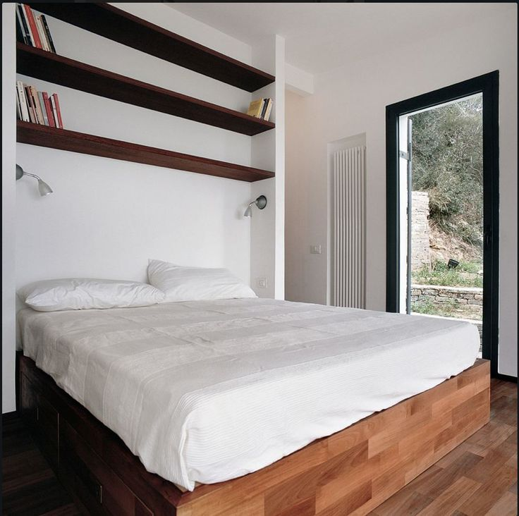 Bed and closet space behind the wall tiny house pinterest for Bunk beds in closet space