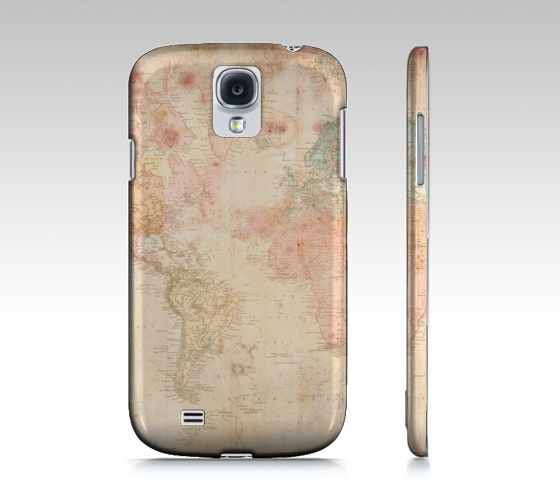 "#ArtOfWhere Samsung+Galaxy+S4+""Another+vintage+world+map""+by+Marosée+Créations"