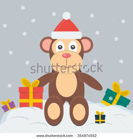 Symbol of the New Year 2016. New Year and Christmas greeting card. Monkey christmas cartoon. - stock vector