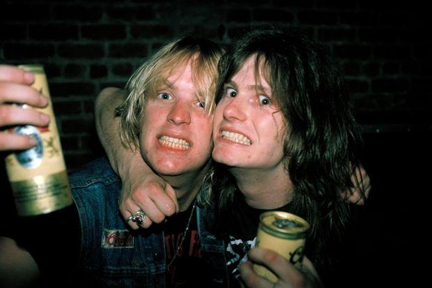 Jeff Hanneman and Exodus guitarist Gary Holt, Sacramento, California, April 13, 1985