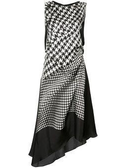асимметричное платье в ломаную клетку