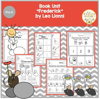 """""""Frederick"""" by Leo Lionni Books message is everyone's contribution is important. 10 color and trace pages 10 pages of scissor practice 5 pages of matching 5 pages of identifying the one that is different 5 counting pages 5 pages of patterns Puppet sticks for"""