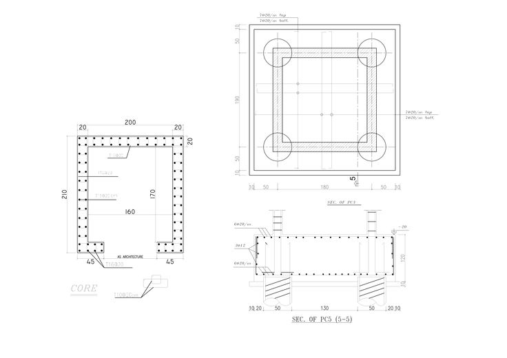 BUILDING CORE , ELEVATOR STRUCTURE SYSTEM , FOUNDATION